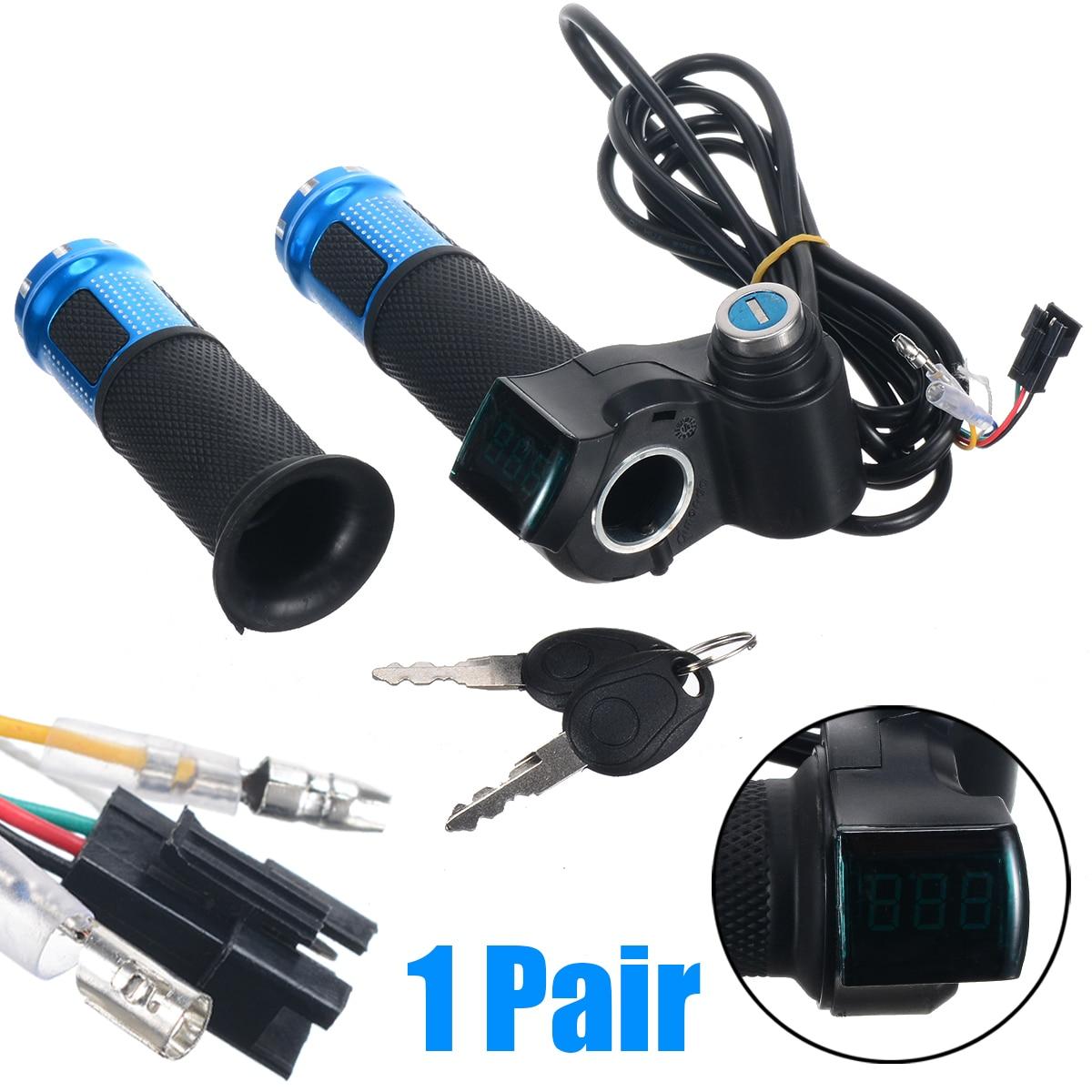 1 Paar Elektrische Fahrrad Gas Mit Lcd Display Elektrische Roller Lenker Grip Für Roller Bike 24 V 36 V 48 V Fahrrad Zubehör FüR Schnellen Versand