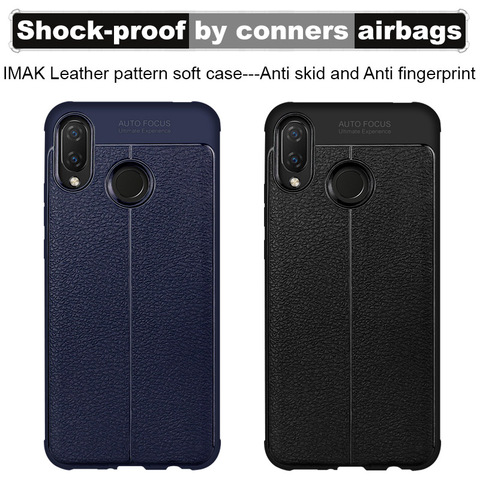 Airbag shockproof For Huawei P Smart Plus Huawei Nova 3I Case Imak Leather pattern soft TPU Back cover Anti Fingerprint Cases Lahore
