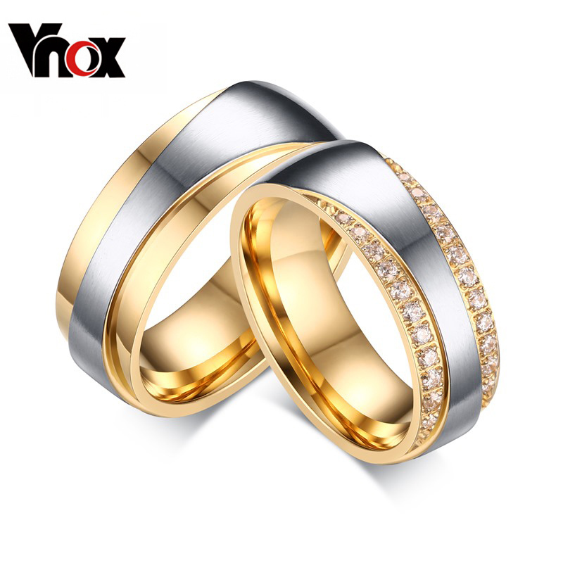 Vnox Wedding-Rings Stainless-Steel Gold-Color Women for Promise Lover Valentine's-Day-Gift