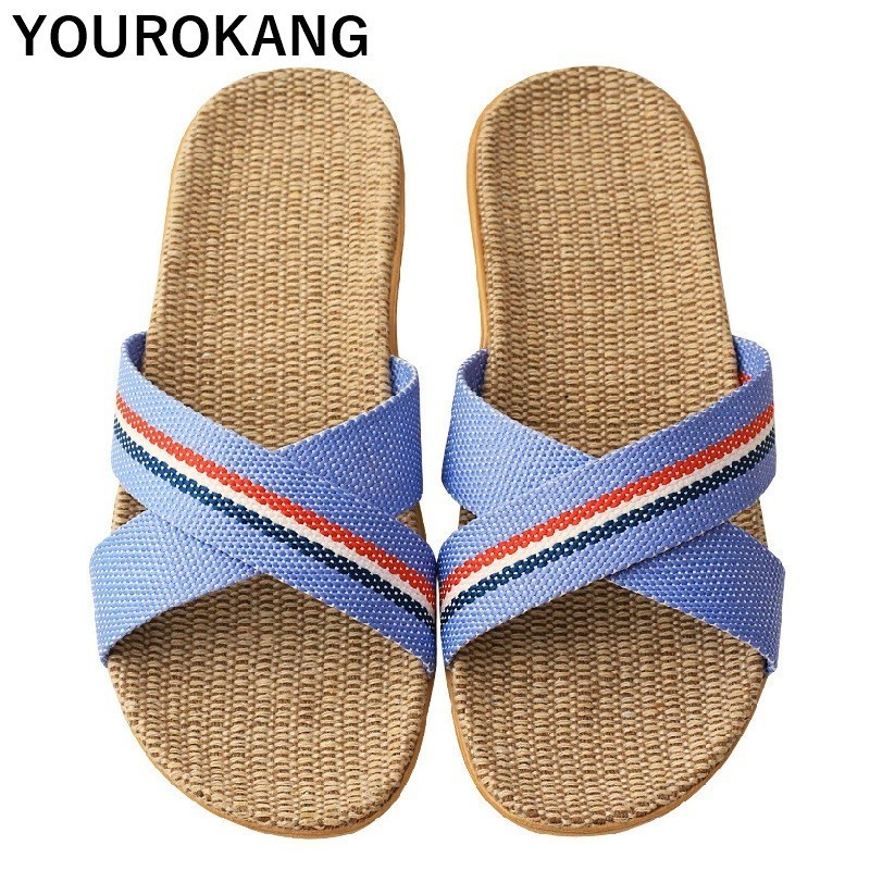 Women Linen Slippers Indoor Floor Flax Flip Flops Home Slippers Lightweight Couple Shoes Unisex Antiskid Badslippers Hot Sale