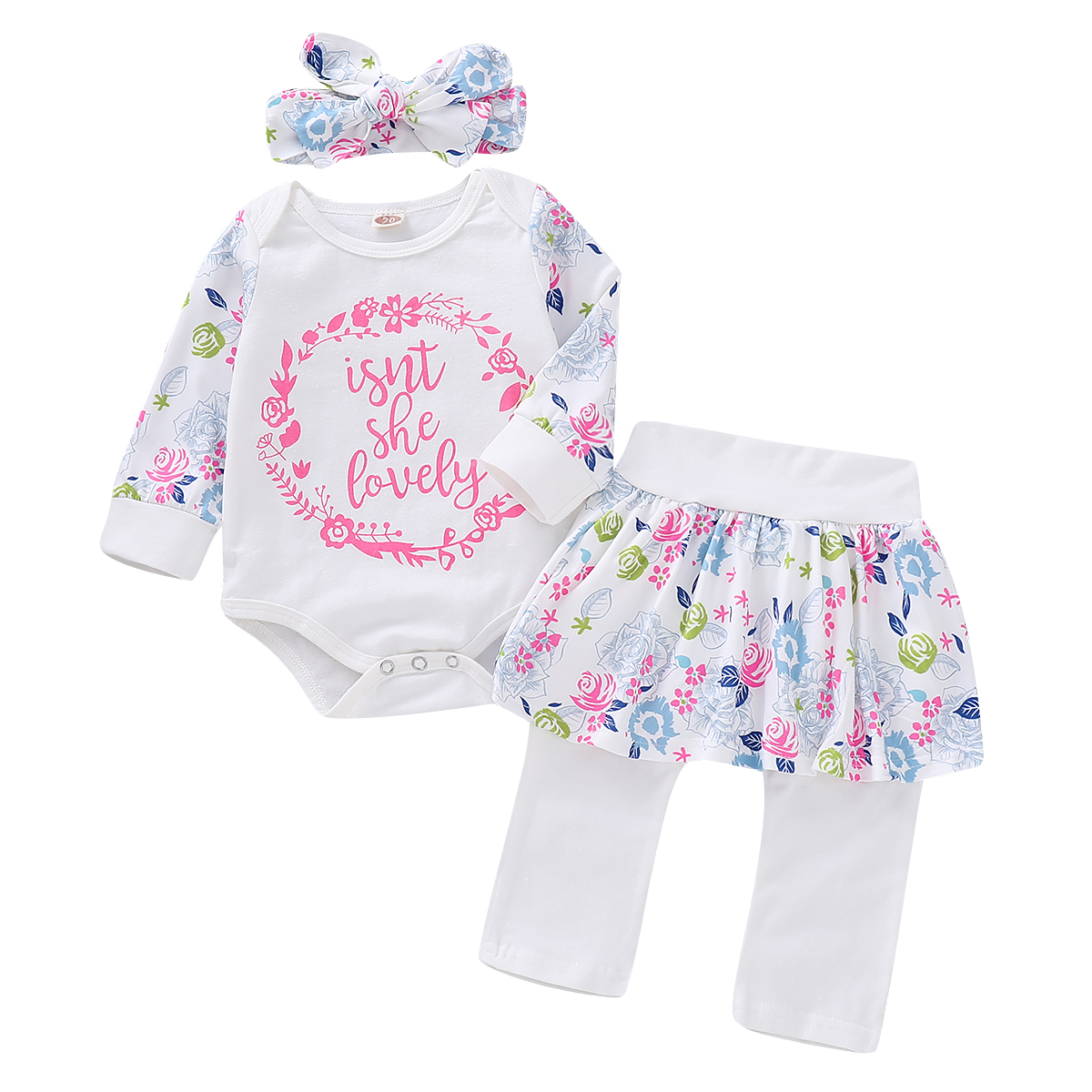 US Newborn Baby Girl Little Sister Tops Romper Flower Pants 3Pcs Outfits Clothes