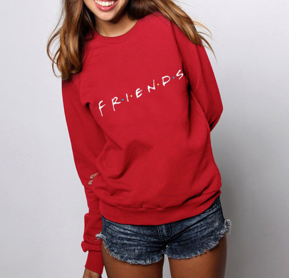 Women Ladies FRIENDS Print Hoodies Sweatshirt Ladies Casual Pullover  Sweatshirts O-neck  Tops