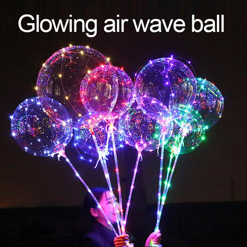 Eloman 10pcs Party Led Clear Balloons With Stick Wedding Party Decorations 3m Led Linghts Clear Led Bobo Bubble Balloons 100% High Quality Materials Home & Garden Event & Party