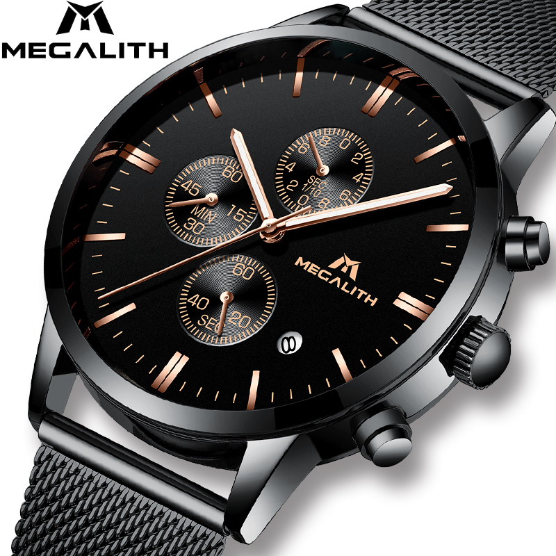 MEGALITH Luxury Simple Watches Men Black Steel Mesh Band Quartz Watch Chronograph Business Sport Wrist Watch Relogio Clock MenMEGALITH Luxury Simple Watches Men Black Steel Mesh Band Quartz Watch Chronograph Business Sport Wrist Watch Relogio Clock Men
