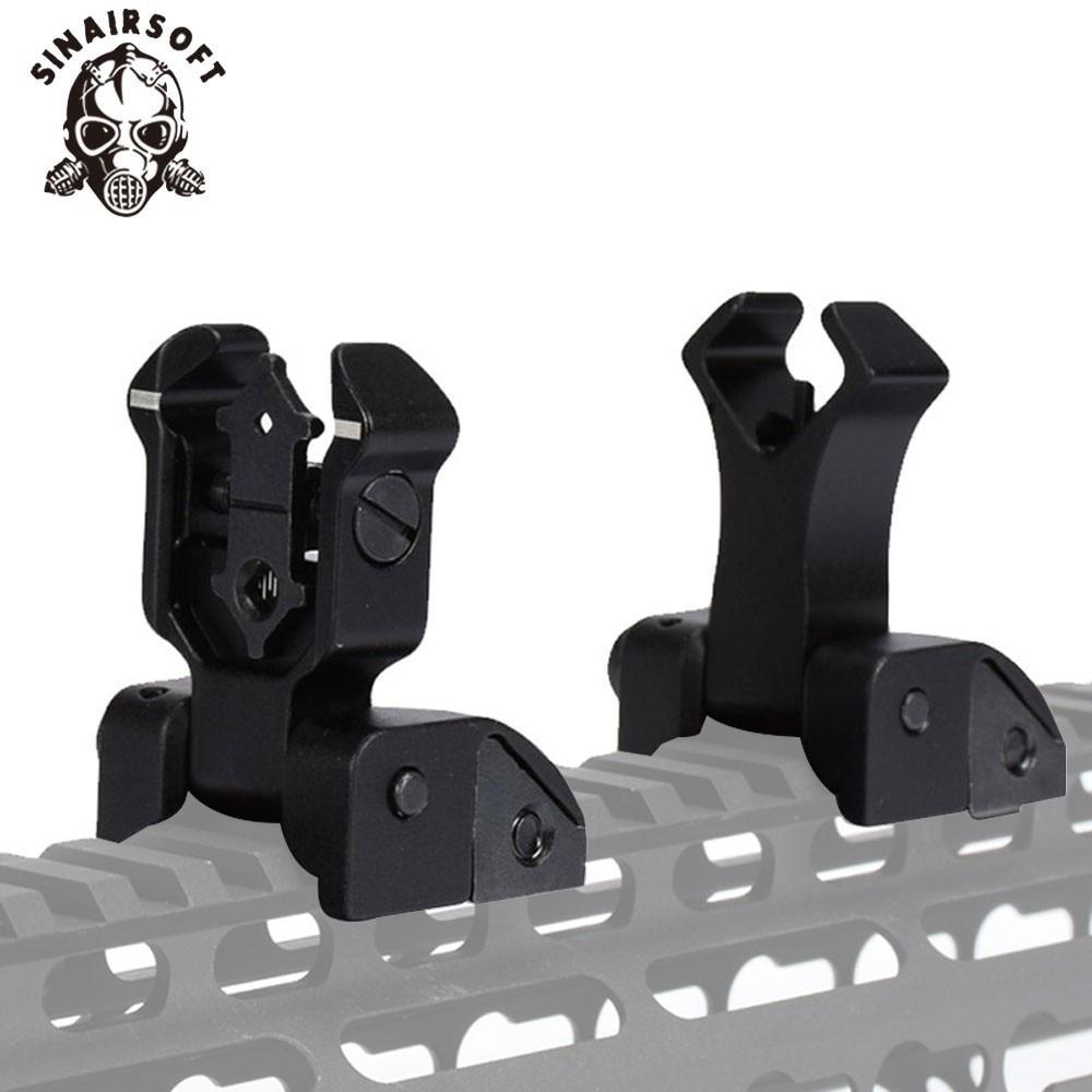 Flip-Up Rear Front Folding Iron Sights For Diamondhead DIAMOND Drop-In Free-Floating Handguards Picatinny Rail Black