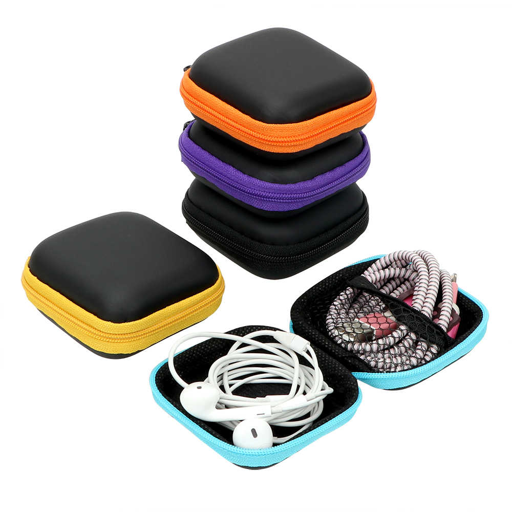USB Cable Organizer Portable Earbuds Pouch Box Headset Cover Protector Earphone Storage Bag Mini Zipper Hard Headphone Case