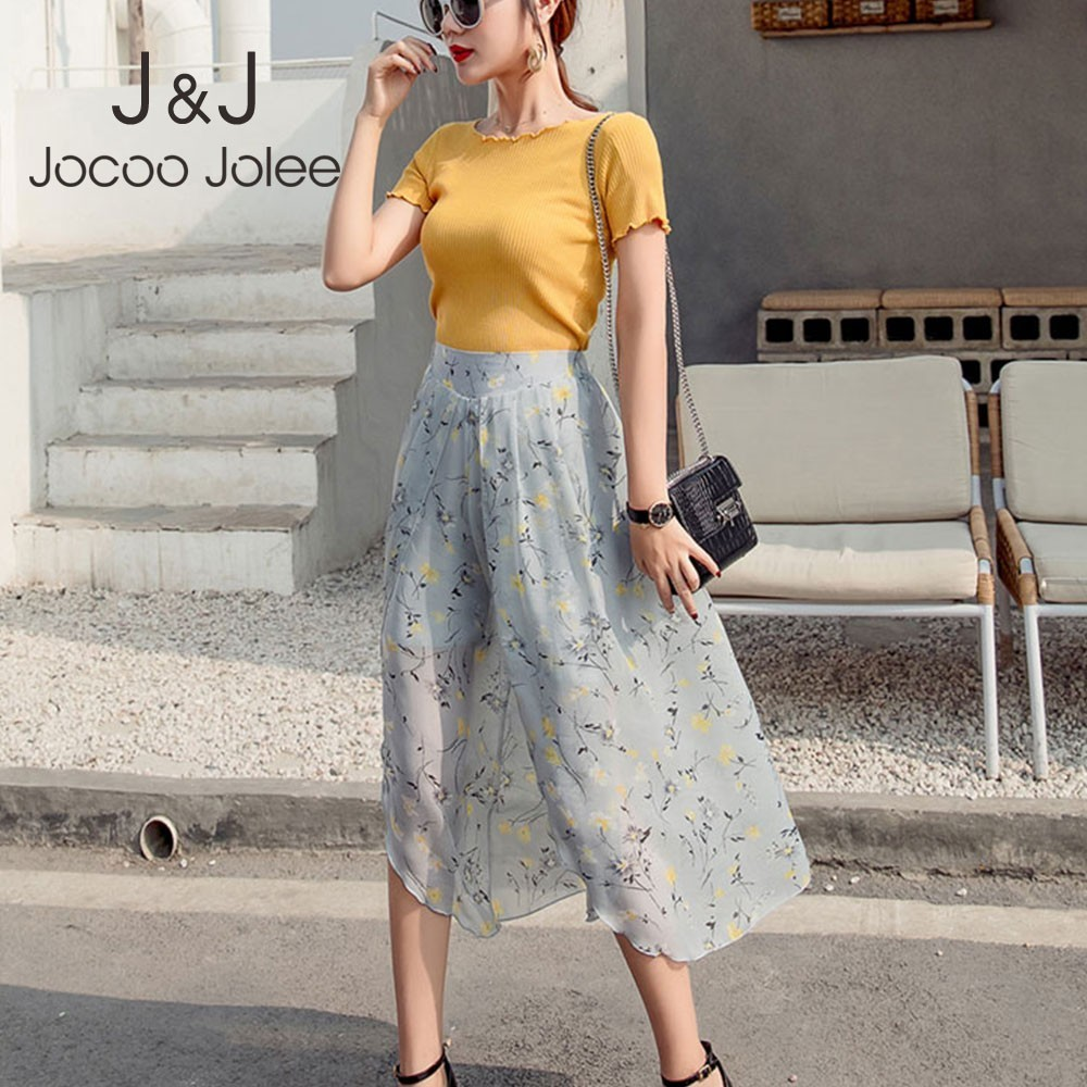 Jocoo Jolee Bohemian Wide Leg Chiffon   Pants   Women Summer Sexy Elastic Waist Side Split Trousers Casual Beach   Pants     Capris   2019