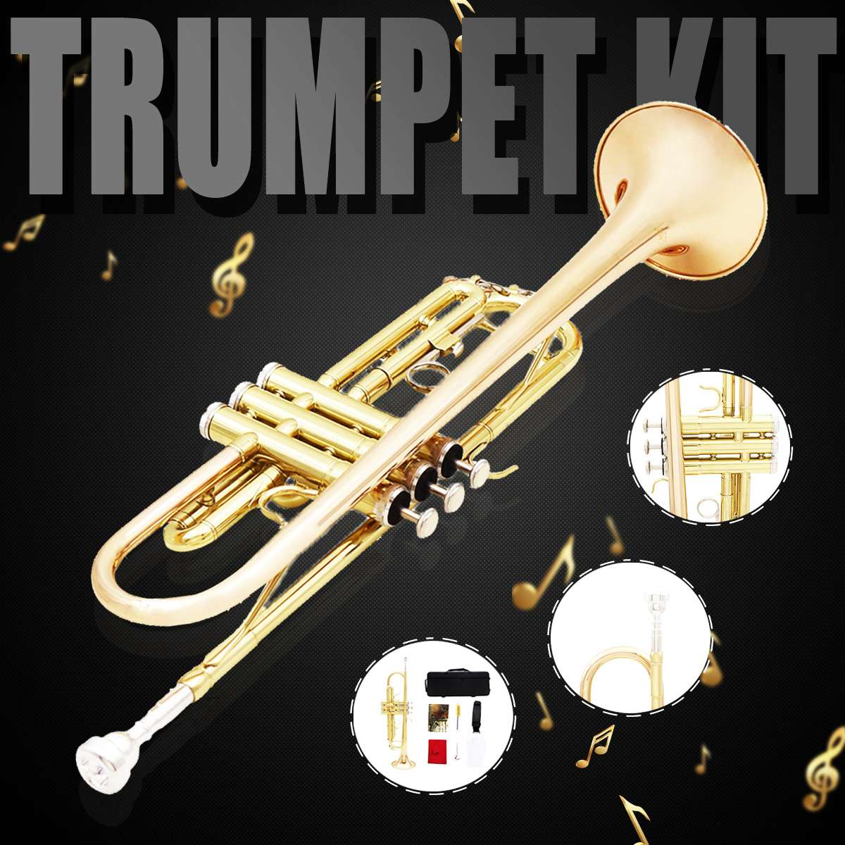 Bach Trumpet  Plated GOLD KEY LT180S-72 Flat Bb Professional Trumpet Bell Top Musical Instruments Brass