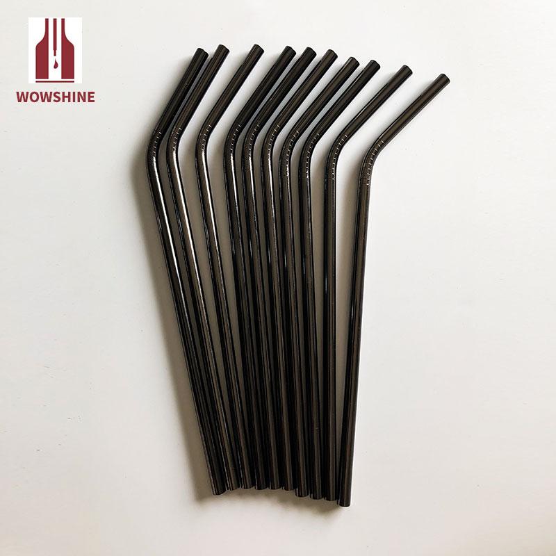 Wowshine 공장 무료 배송 새로운 총 블랙 스테인레스 스틸 304 마시는 빨대 구부러진 6mm * 215mm 100 pcs-에서빨대부터 홈 & 가든 의  그룹 3