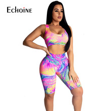 2019 New women summer Colorful Sexy Bodysuit hollow out back sleeveless tank tee top knee length pants suits 2pcs set tracksuit