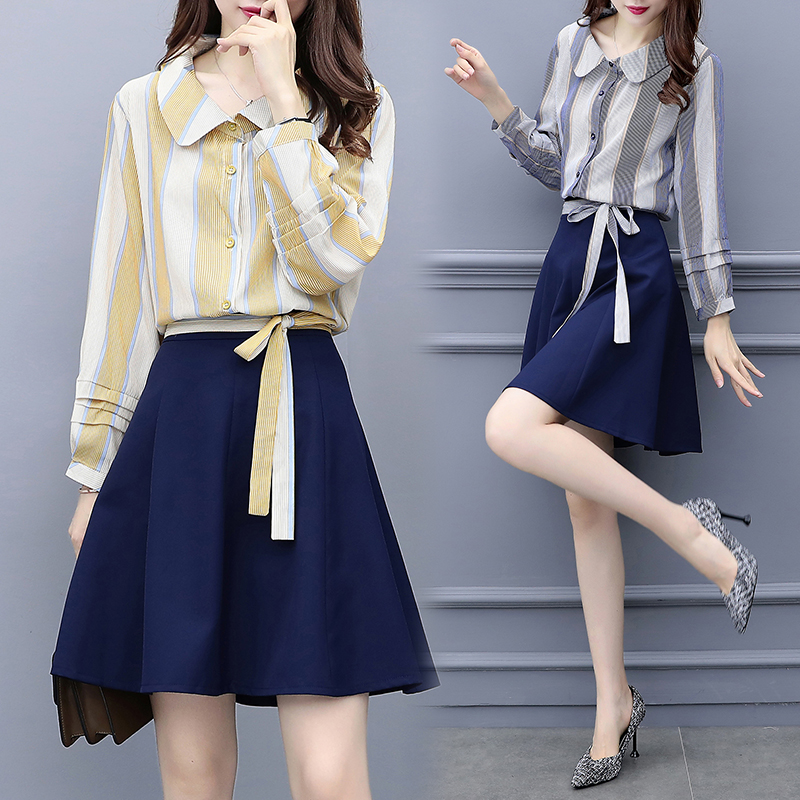 5xl plus big size women set clothing spring autumn winter fashion thin striped shirt mini skirt two pieces suits female Y1550