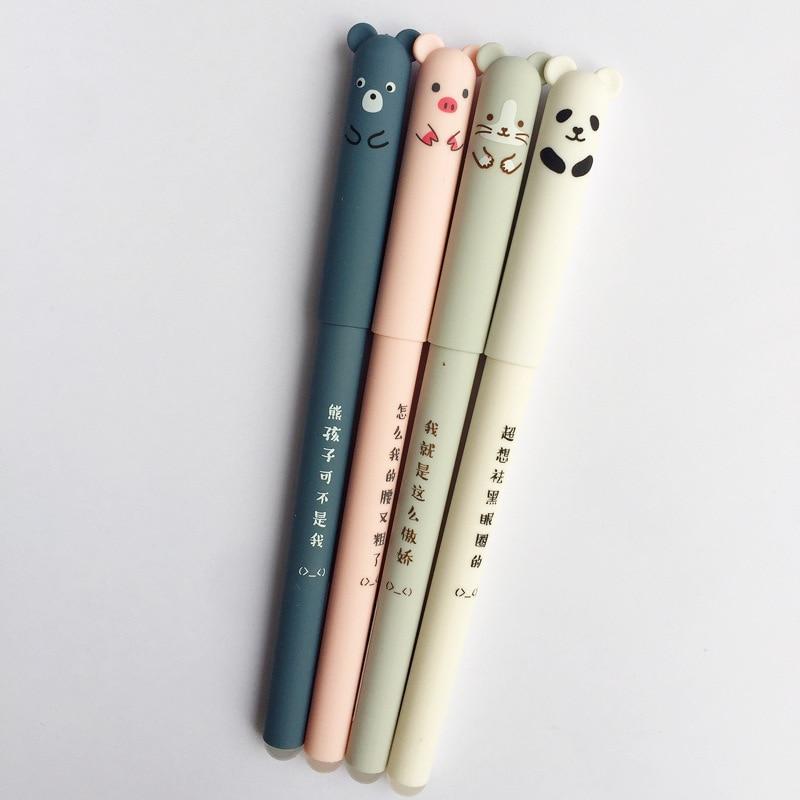4pcs Panda, Mouse, Bear & Pig Blue Ink Gel Pen 2