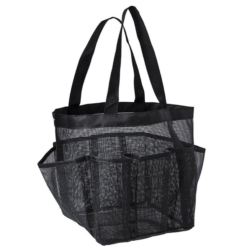 Portable Mesh Shower Caddy, Quick Dry Shower Tote Hanging Bath & Toiletry Organizer Bag 9 Storage Pockets, Double Handles Coll