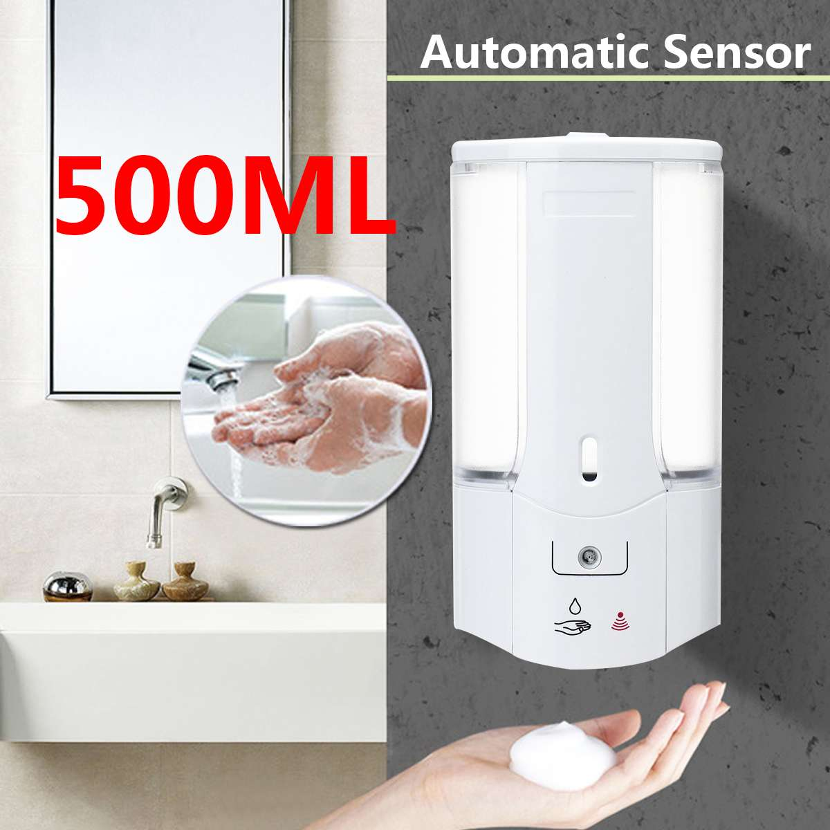 ABS Wall Mount Automatic Hands Free Child Bathroom Kitchen Hand Soap Dispenser
