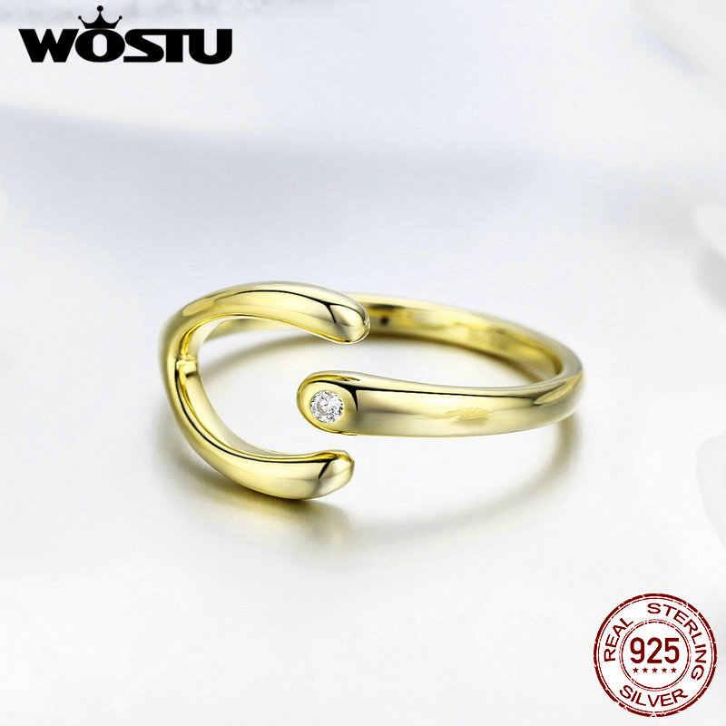 WOSTU 2019 ออกแบบเรียบง่ายสี Minimalist แหวน 925 เงินสเตอร์ลิงปรับแหวนสำหรับผู้หญิงงานแต่งงานเครื่องประดับ CTR031