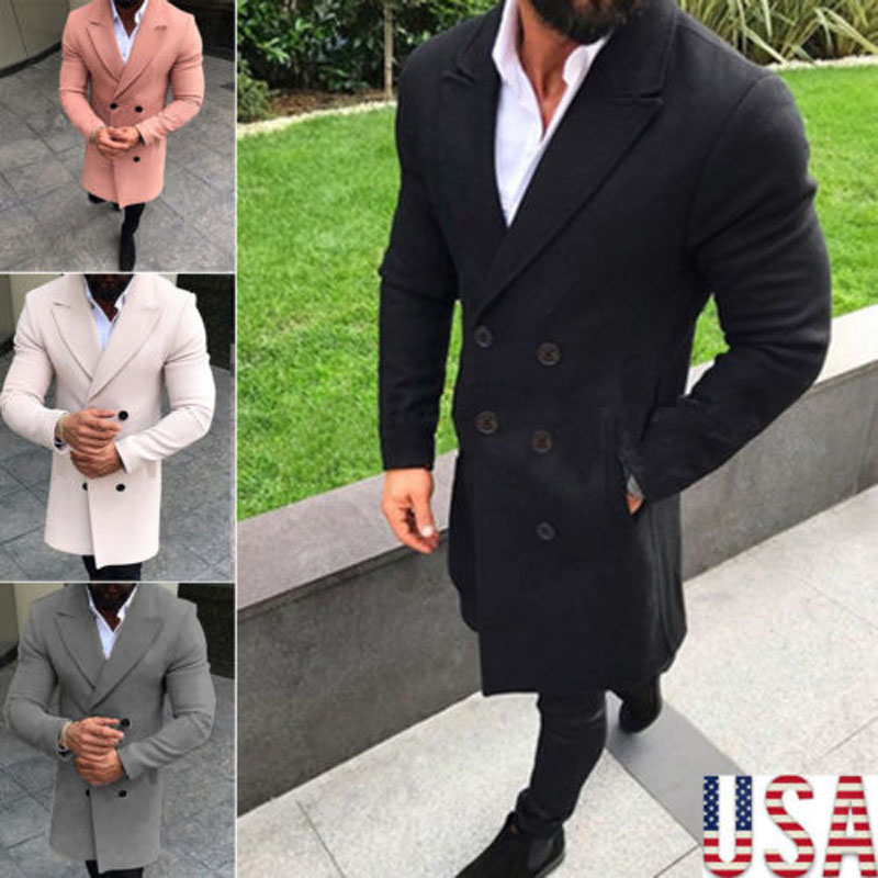 2018 Brand New Fashion Top Men's Long Sleeve Thicken   Trench   Turn-Down Collar Coat Double Breasted Long Outwear Overcoat Peacoat