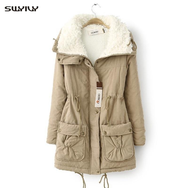 SWYIVY, Женское пальто с хлопковой подкладкой, зима 2019, длинный абзац, овечья шерсть, кашемировые пальто, на завязках, Повседневная тонкая куртка, верхняя одежда для женщин