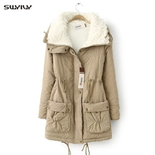 SWYIVY Womens Cotton Padded Coat Winter 2019 Long Paragraph Lamb Cashmere Coats Drawstring Casual Slim Jacket Outwear For Woman