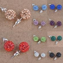 LNRRABC Temperament Short Paragraph Earrings Personalized Wild Simple Hair Ball Female Rhinestones Korean Colorful