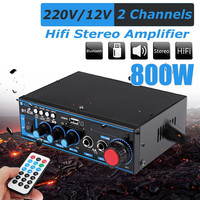 bluetooth Channel 800W 2 CHl Audio Power Amplifier Car Amplifier Speaker Vehicle with Remote Control Support FM USB for SD Cards