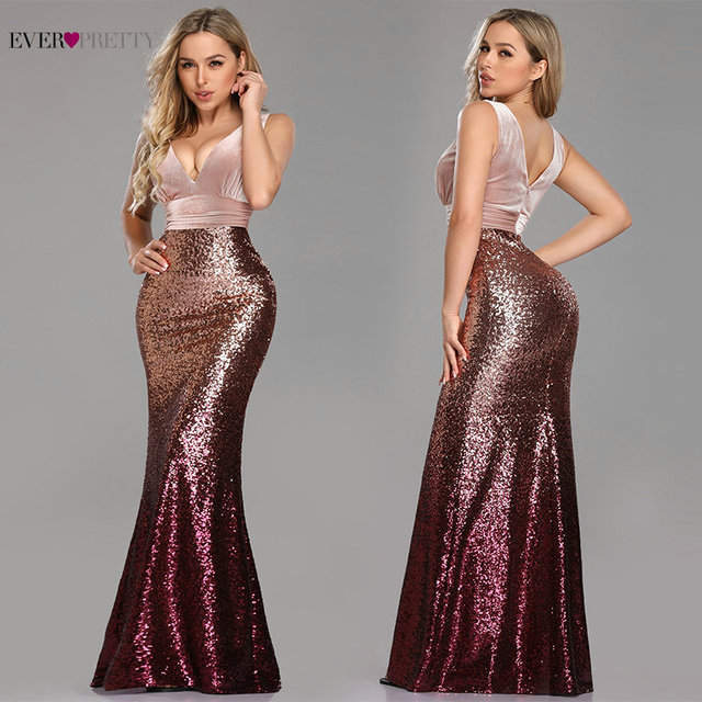 Robe De Soiree Ever Pretty Sexy Sequined Little Mermaid Burgundy Sparkle Party Gowns New Arrival Cheap Long Prom Dresses 2020 3