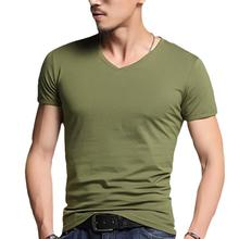 MR K Men Solid Color T Shirt Bottoming V Neck Leisure T-Shirt Fashion Slim Fit T-shirts Man Summer Short Sleeve Top Plus Size(China)