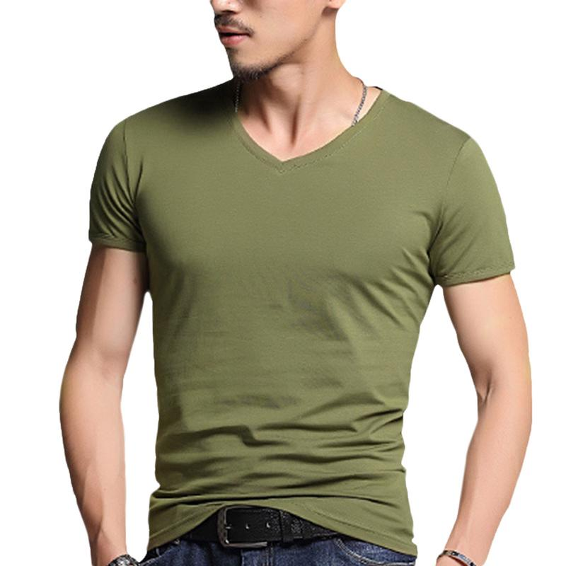 MR K Men Solid Color   T     Shirt   Bottoming V Neck Leisure   T  -  Shirt   Fashion Slim Fit   T  -  shirts   Man Summer Short Sleeve Top Plus Size