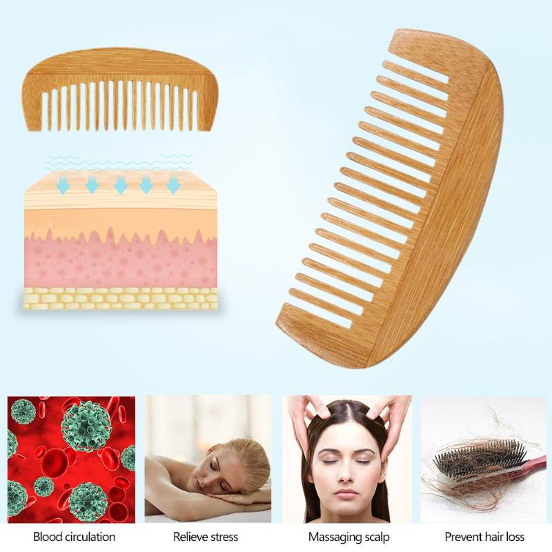 1pc Portable Natural Wooden Comb Bamboo Crescent Shape Anti-Static Comb Head Massage Hair Styling Beauty Tool