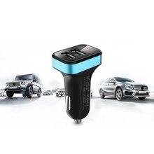 Новое зарядное устройство с двумя выходами для автомобиля Зарядное устройство с двумя портами USB Порты и разъёмы 2.1A адаптера переменного тока с Цифровой Вольтметр Манометр светодиодный Напряжение Дисплей для прикуривателя 12 V-24 V