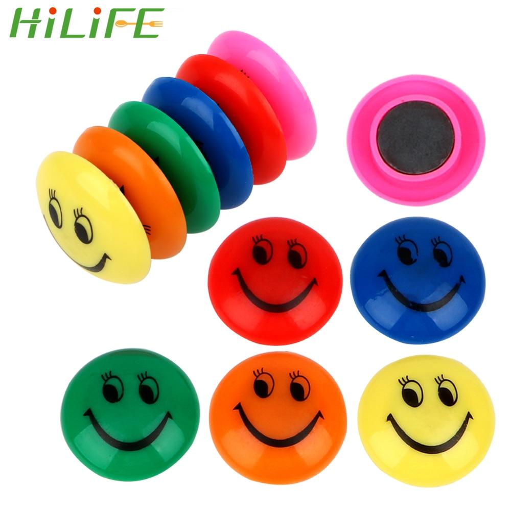 HILIFE 12pcs/lot Smiling Face Fridge Magnet Refrigerator Magnets Home Decoration Colorful Circular Plastic Message Board Sticker