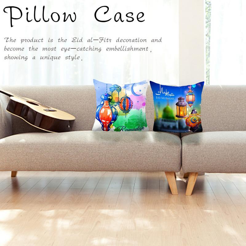 45x45 Cm Moslim Ramadan Decoratie Voor Thuis Katoen Seat Sofa Kussenhoes Klassieke Lantaarn Sierkussen Cover Eid Mubarak Decor