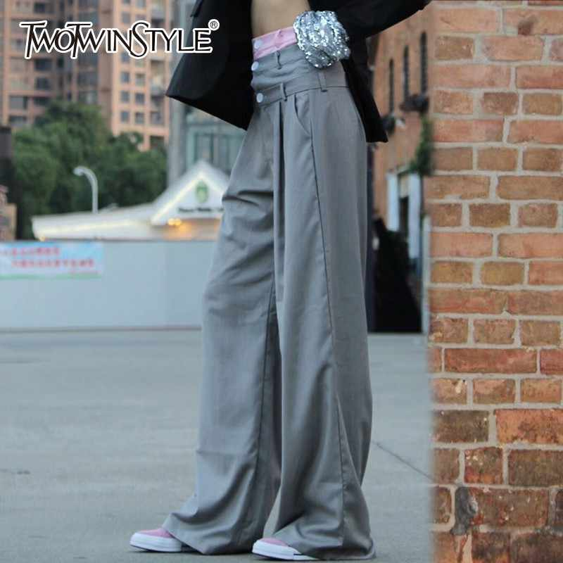 TWOTWINSTYLE хит цвета Лоскутные широкие брюки женские брюки с высокой талией брюки большого размера для женщин 2019 Весна Повседневная мода