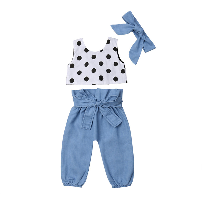 US 3PCS Toddler Kids Baby Girl Summer Clothes Dot Tops Vest+Long Pants Outfits