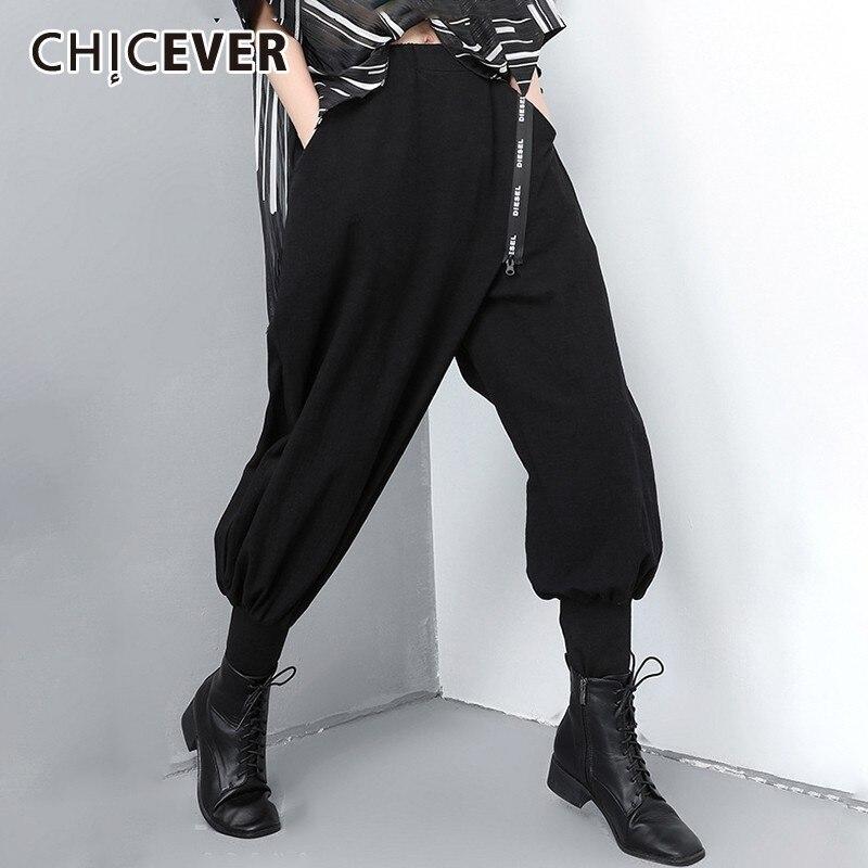 CHICEVER Spring Patchwork Letter Zipper Women Black   Pants   Elastic Waist Mid Female Front Flat   Wide     Leg     Pants   2019 Fashion New
