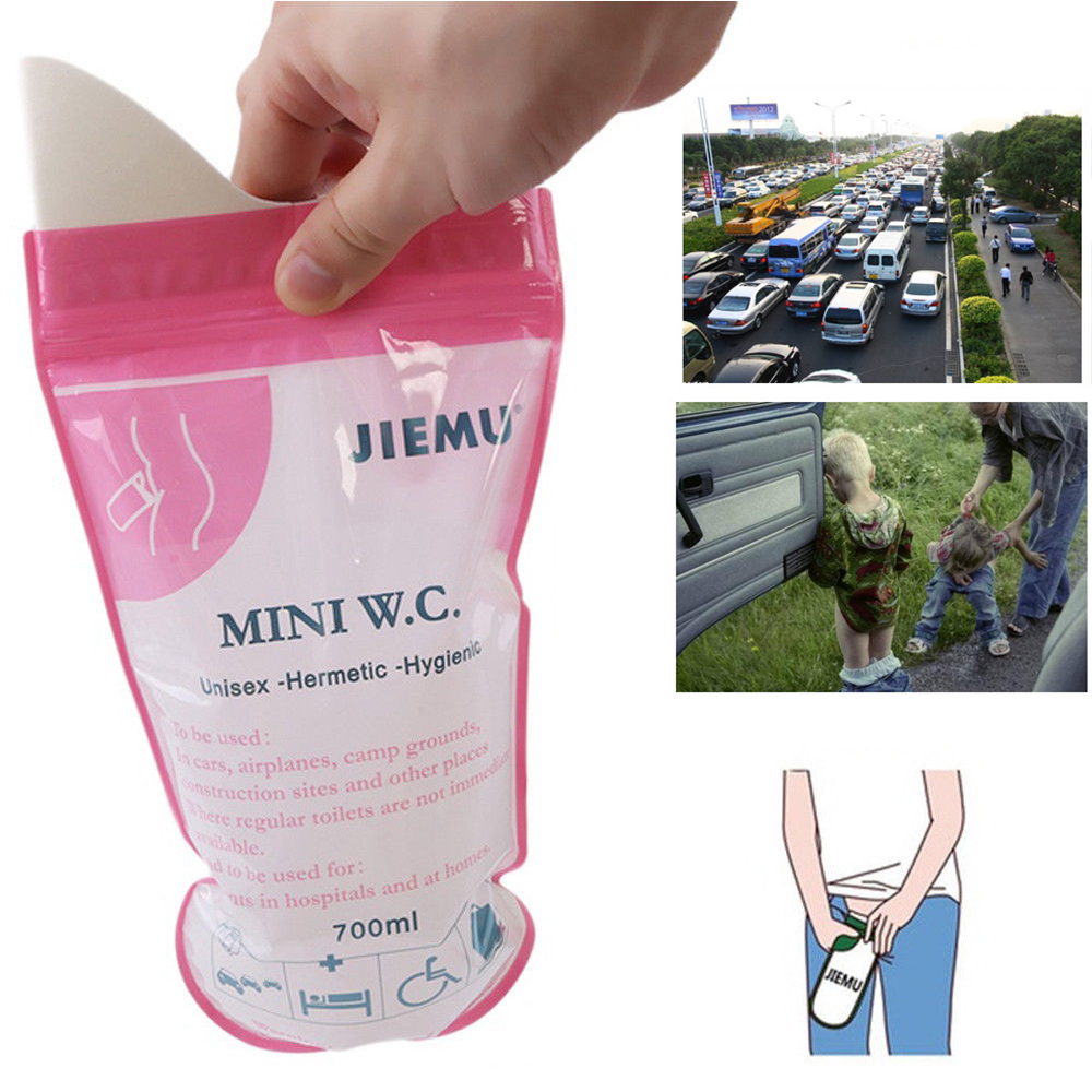 1pc 700ml Emergency Portable Car Urine Bag Vomit Bags Mini Mobile Toilets Handy Unisex Disposable Urinal Toilet Bag