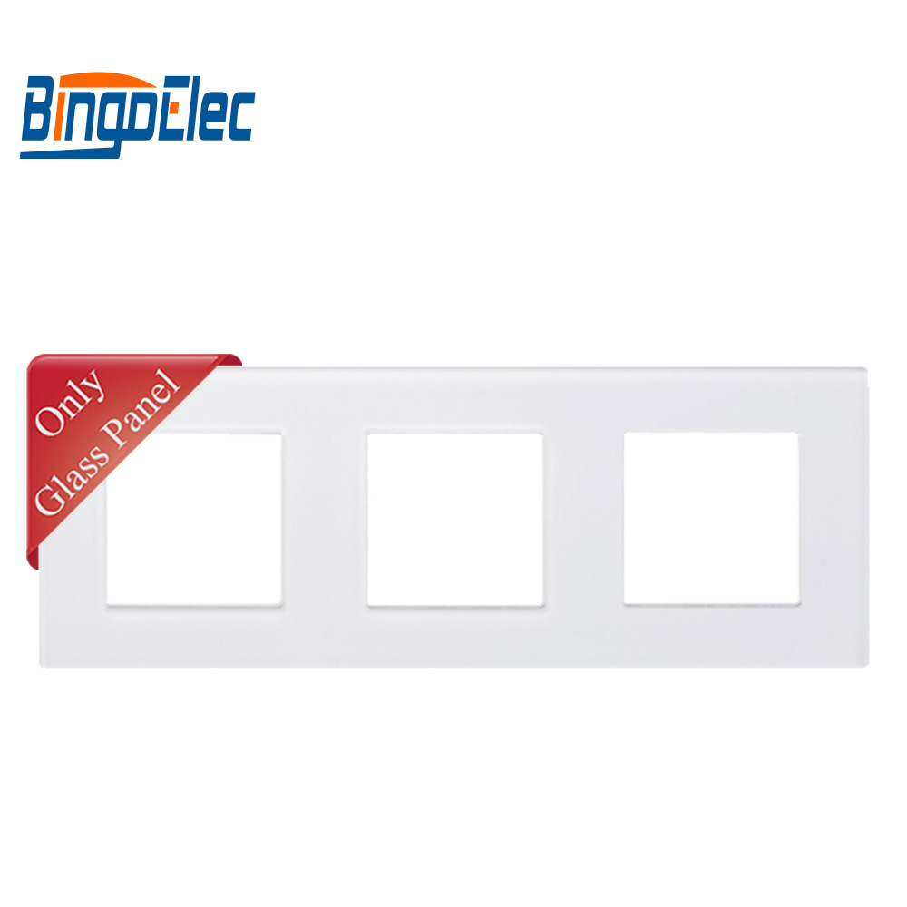 Bingoelec EU Three Color Toughened Glass Triple Frame For Switch And Socket Parts229 86mm