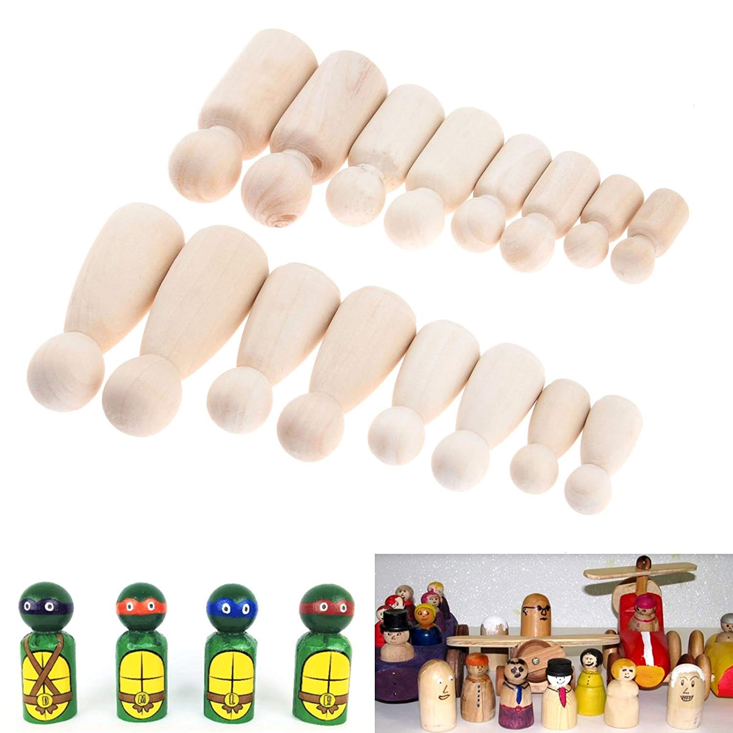 16 PcsSolid Hard Wood People Different Size Natural Unfinished Ramp Preparation Paint Or Stained Wooden Family Wood Peg Dolls