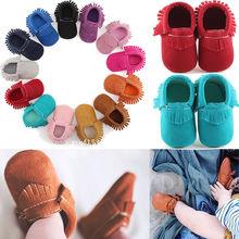 Новинка, милая обувь для маленьких мальчиков и девочек на мягкой подошве, обувь для кроватки с бахромой, однотонные хлопковые прогулочные туфли для детей ясельного возраста 0-18 месяцев