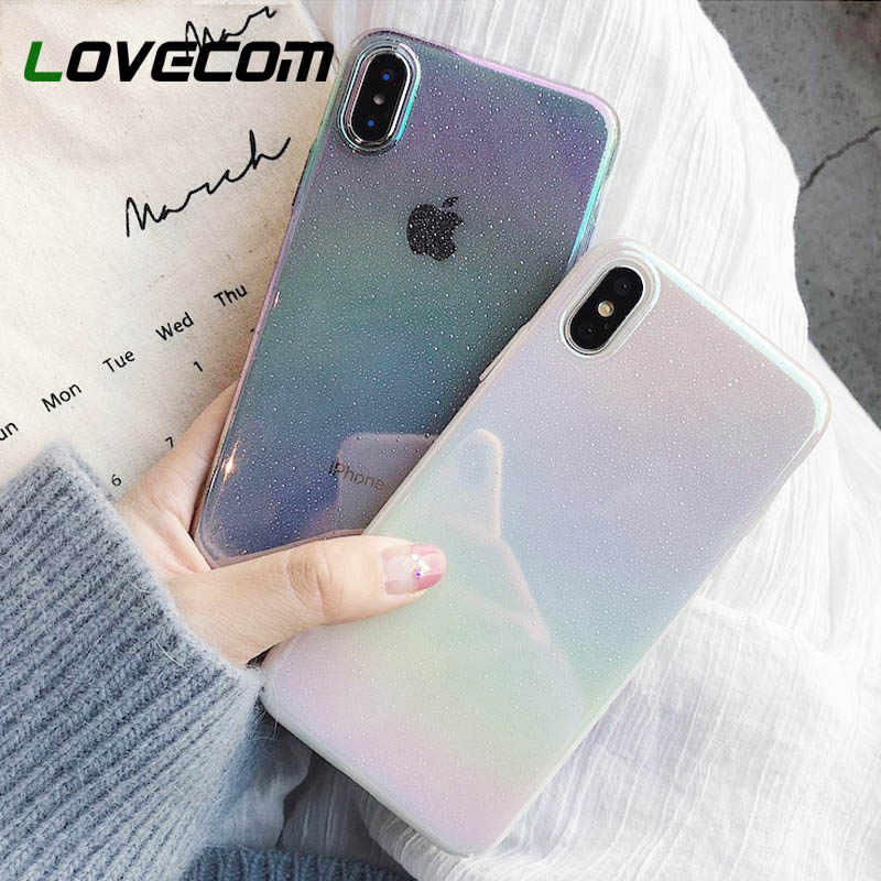 Lovecom Warna-warni Gradien Rainbow Case untuk iPhone 11 Pro Max XR X Max 6 6S 7 7 Plus X pc Hard Full Body Phone Back Cover Coque