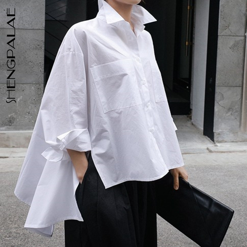 SHENGPALAE 2019 Spring Summer New Shirt Female Koran Styke Tops Wild Casual Blouses Loose Pluz Size Women Solid Clothing FM809