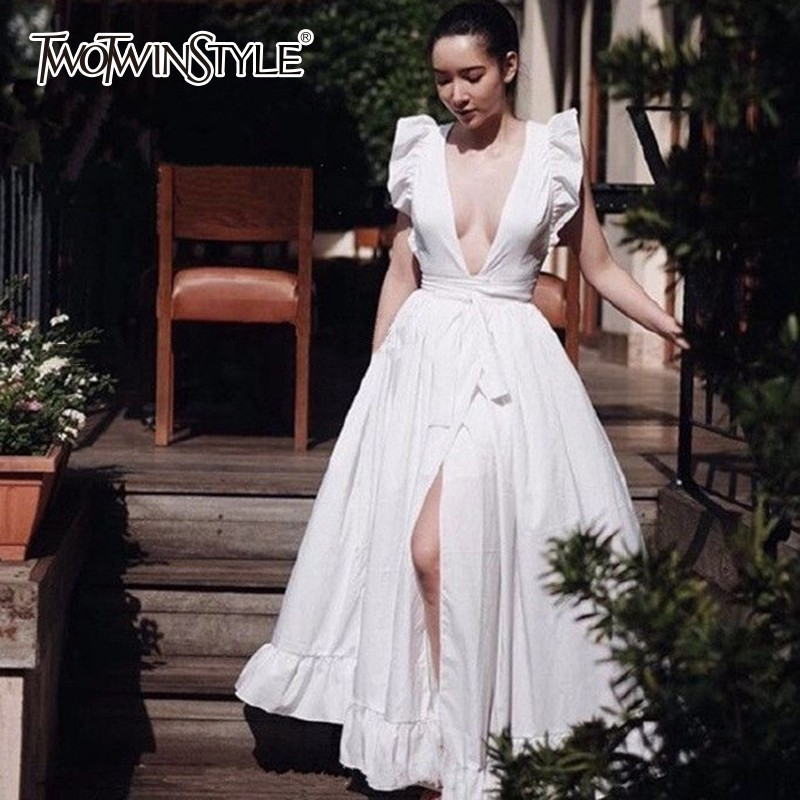 TWOTWINSTYLE Elegant Beach Dress Female V Neck Sleeveless High Waist Lace Up Split White Maxi Dresses