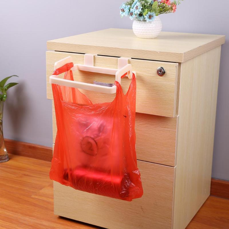 Multifunction ABS Cupboard Door Back Trash Rack Storage Garbage Bag Holder Hanging Kitchen Cabinets Storage Towel Shelf Holders
