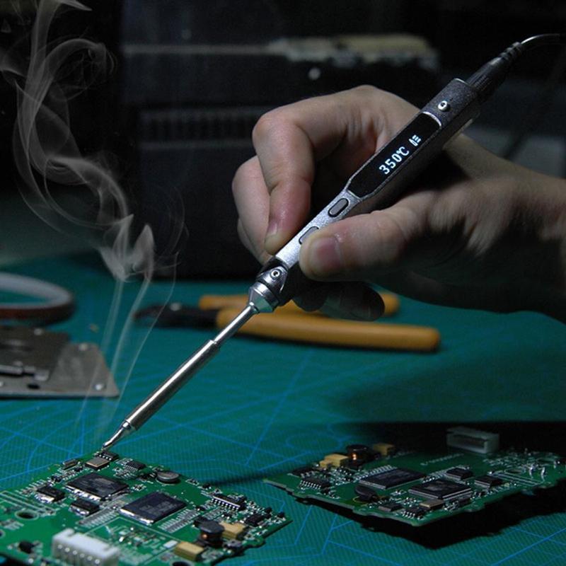 TS100 40 W 12 V 19 V 24 V DC Mini inteligente hierro eléctrico de soldadura Estación de soldadura de hierro de la soldadura inteligente Halolum de soldadura de hierro