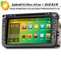 8 Quad Core DAB+ 2 DIN Autoradio Android 8.1 Car Radio Player for SKODA Fabia Roomster Yeti Octavia Superb WiFi 4G GPS Sat Nav