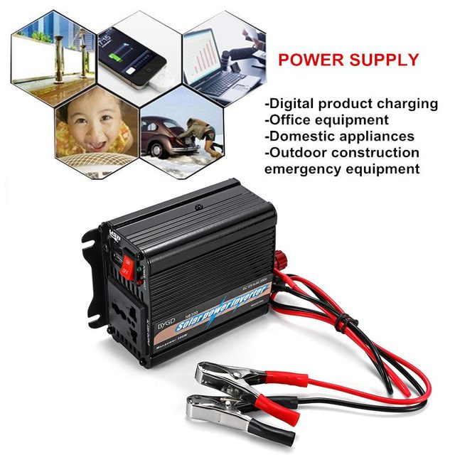 300W Max Solar Power Inverter 12 V to AC 220 Volt Digital Display Modified Sine Wave Car Charge Converter Transformer