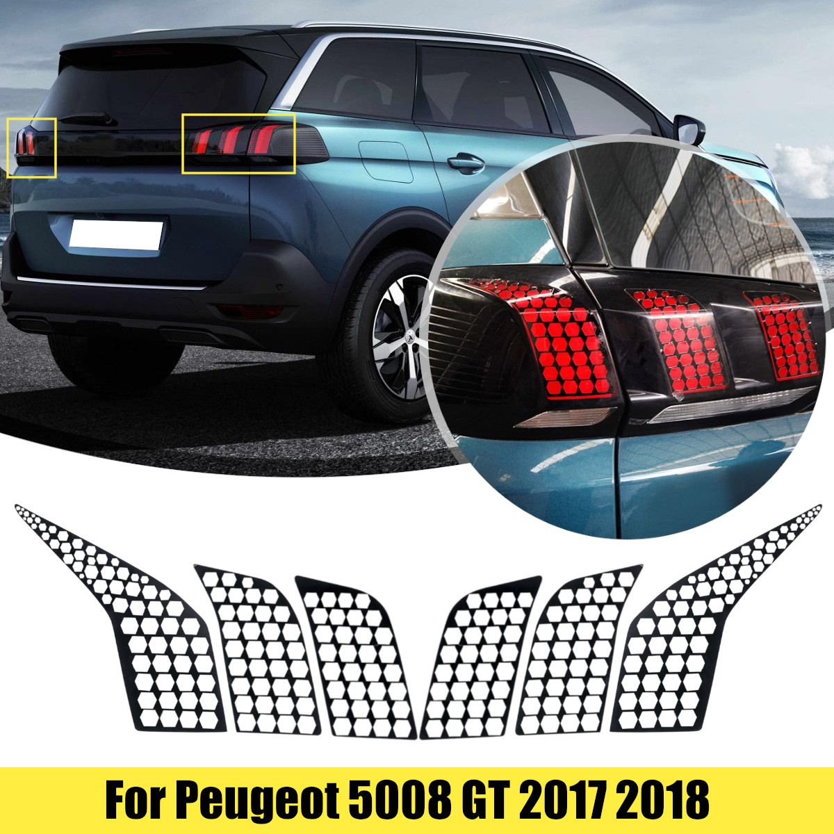 6Pcs/Set PVC Car Rear Tail Light Taillight Lamp Cover Honeycomb Stickers Decoration Decal Sticker For Peugeot 5008 GT 2017 2018