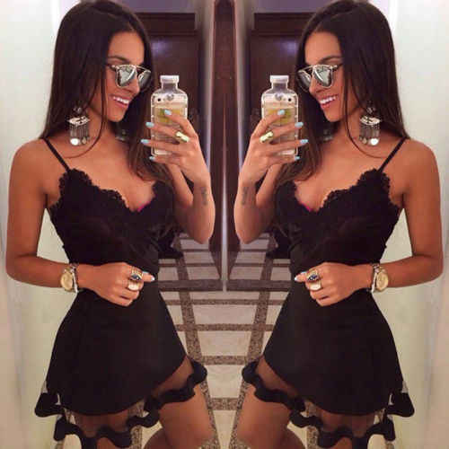 8af7d1bb259 2019 Women maxi Casual bandage bodycon Summer Sleeveless lace beach Party  Evening Short Mini Dress