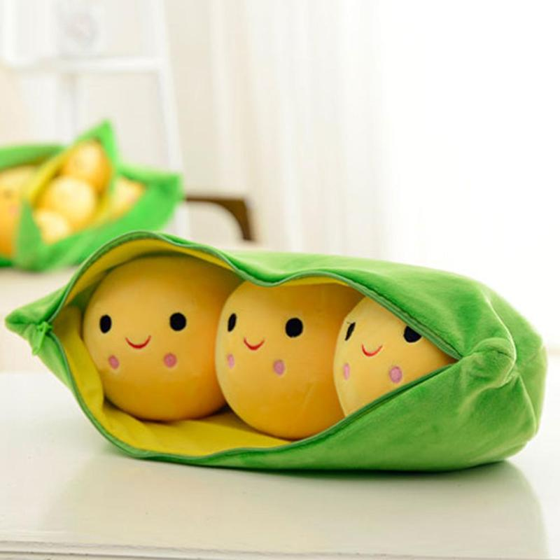 25CM  Cute Kids Baby Plush Toy Pea Stuffed Plant Doll Kawaii For Children Gift Creative & High Quality Pea-shaped Pillow Toys