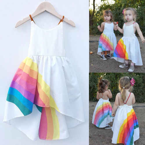 Prinses Jurk Kid Baby Meisjes Party Pageant Leuke Mouwloze Backless Strap Rainbow Beach Tutu Jurken 1-6T