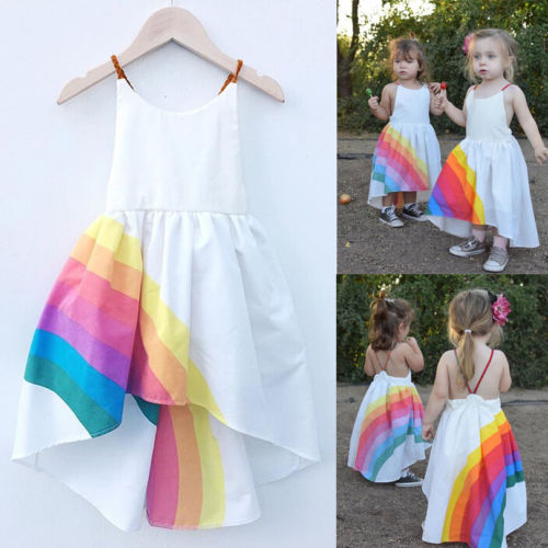 Princess Dress Kid Baby Girls Party Pageant Cute Sleeveless Backless Strap Rainbow Beach Tutu Dresses 1-6T